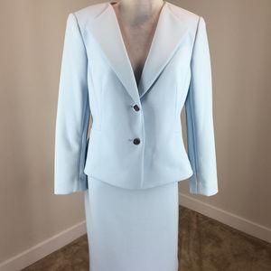 Calvin Klein 12 14 Pale Blue Skirt suit Scuba